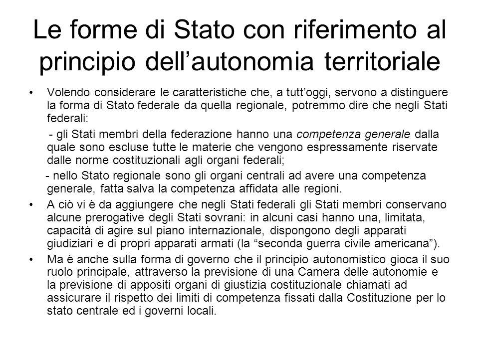 Le forme di Stato con riferimento al principio dell'autonomia territoriale In realtà nell'esaminare questo argomento sarebbe più corretto parlare di v