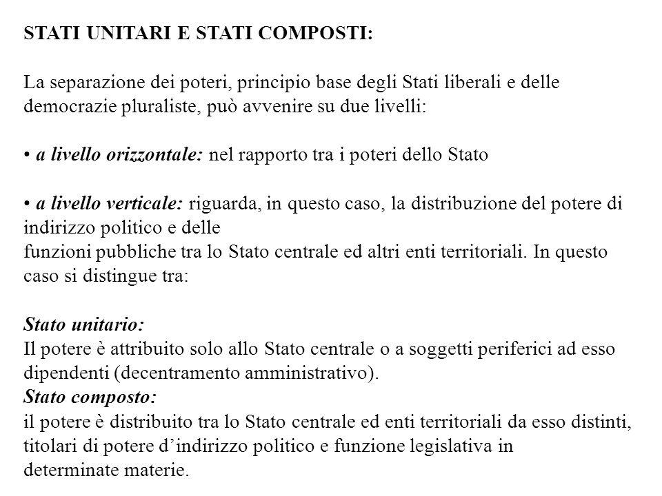 Le forme di Stato con riferimento al principio dell'autonomia territoriale Volendo considerare le caratteristiche che, a tutt'oggi, servono a distingu