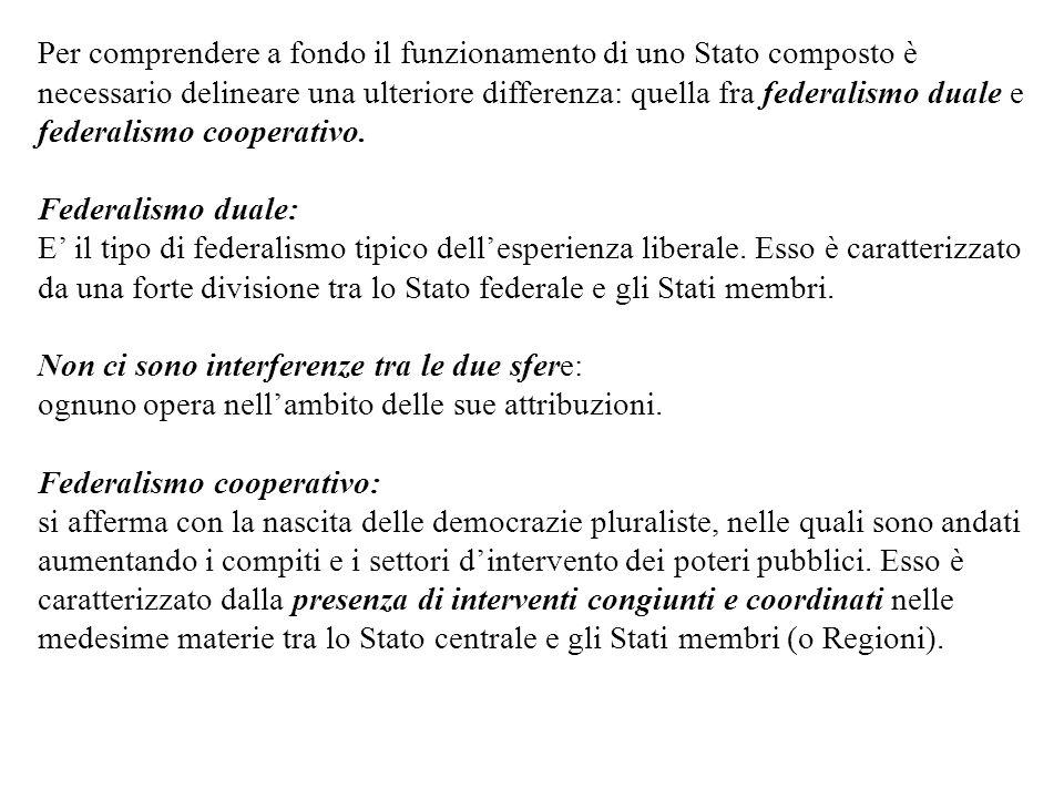 Per comprendere a fondo il funzionamento di uno Stato composto è necessario delineare una ulteriore differenza: quella fra federalismo duale e federalismo cooperativo.