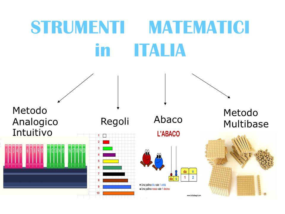 STRUMENTI MATEMATICI in ITALIA Regoli Abaco Metodo Multibase Metodo Analogico Intuitivo