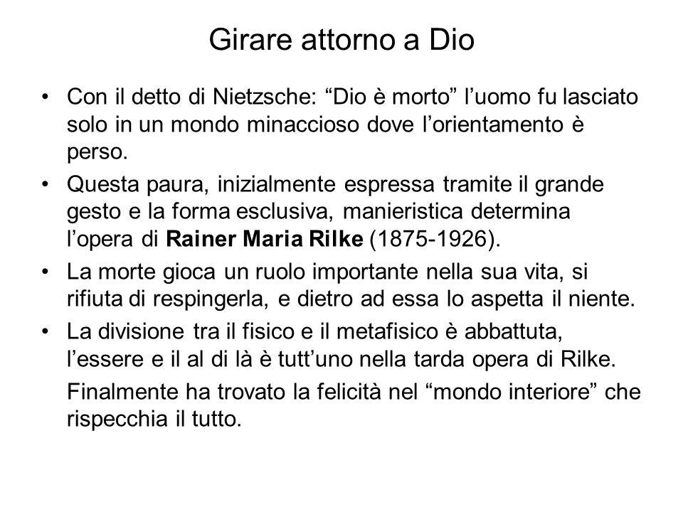 Girare attorno a Dio Con il detto di Nietzsche: Dio è morto l'uomo fu lasciato solo in un mondo minaccioso dove l'orientamento è perso.