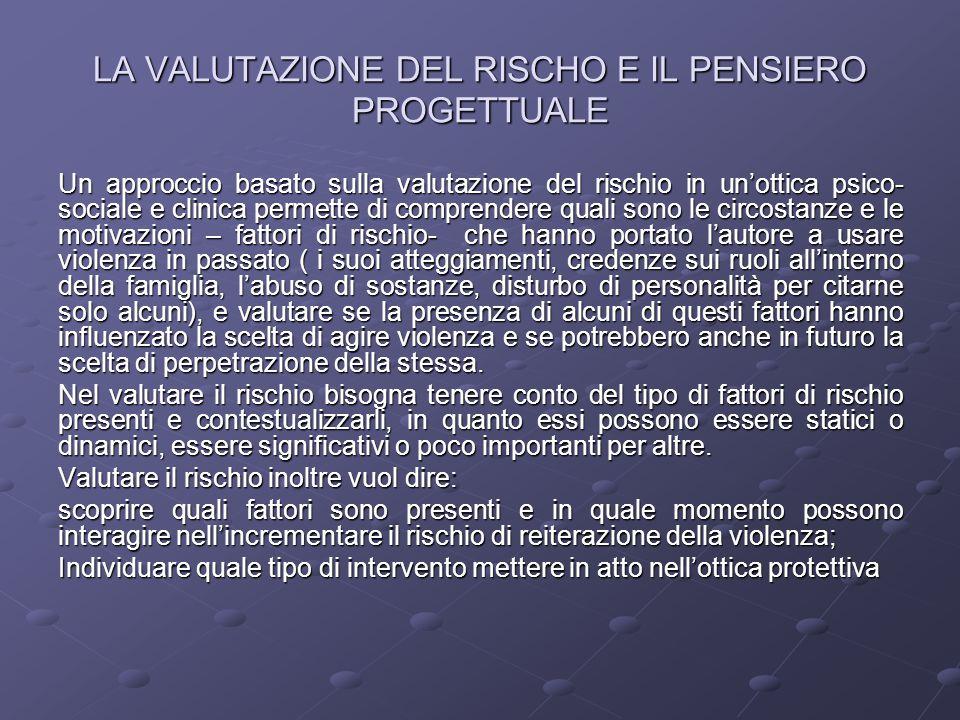 LA VALUTAZIONE DEL RISCHO E IL PENSIERO PROGETTUALE Un approccio basato sulla valutazione del rischio in un'ottica psico- sociale e clinica permette d