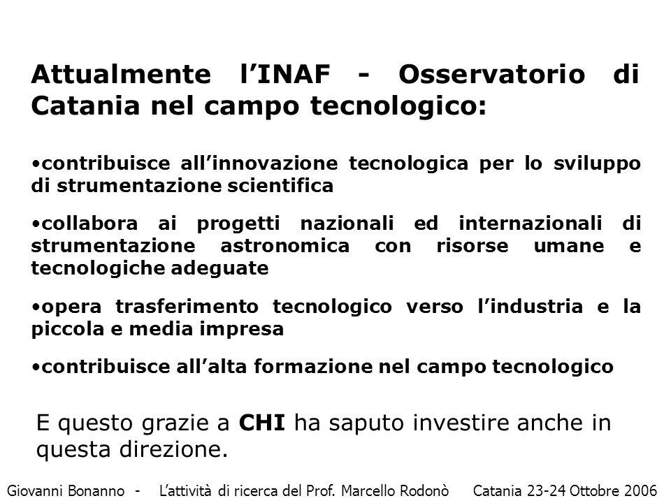 Attualmente l'INAF - Osservatorio di Catania nel campo tecnologico: contribuisce all'innovazione tecnologica per lo sviluppo di strumentazione scienti