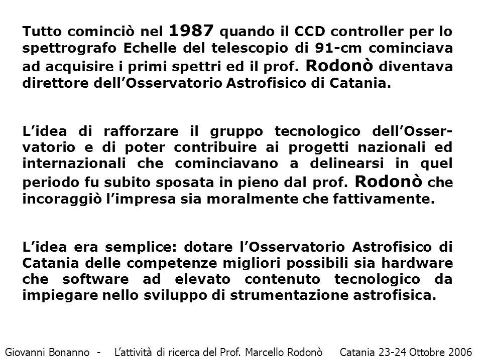 Tutto cominciò nel 1987 quando il CCD controller per lo spettrografo Echelle del telescopio di 91-cm cominciava ad acquisire i primi spettri ed il prof.