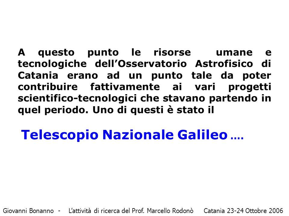 A questo punto le risorse umane e tecnologiche dell'Osservatorio Astrofisico di Catania erano ad un punto tale da poter contribuire fattivamente ai vari progetti scientifico-tecnologici che stavano partendo in quel periodo.
