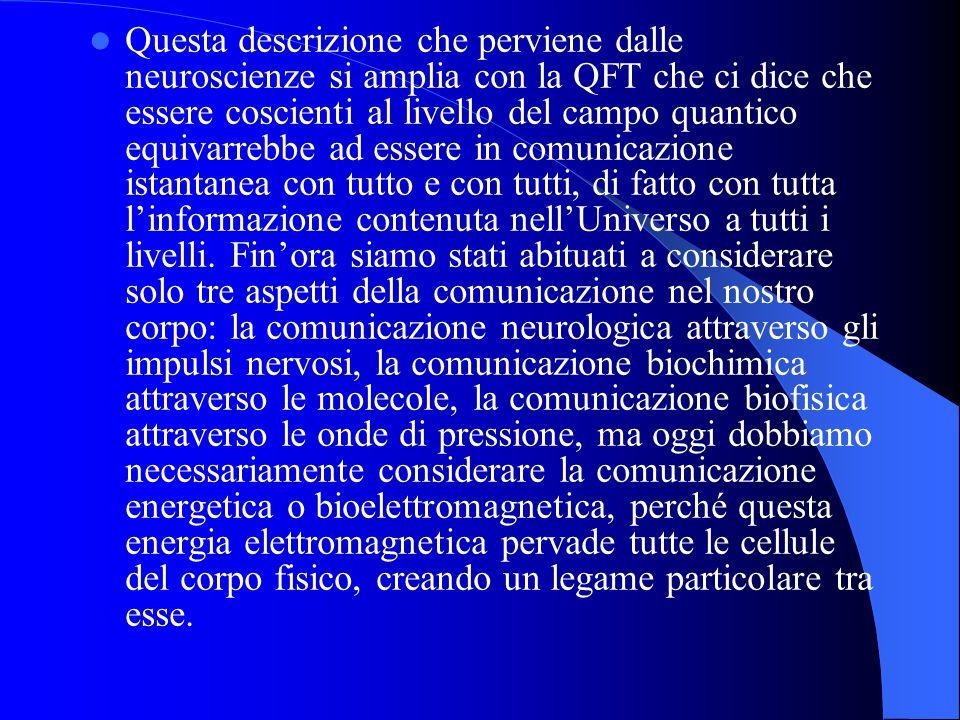 Questa descrizione che perviene dalle neuroscienze si amplia con la QFT che ci dice che essere coscienti al livello del campo quantico equivarrebbe ad