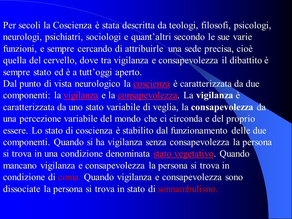 Per secoli la Coscienza è stata descritta da teologi, filosofi, psicologi, neurologi, psichiatri, sociologi e quant'altri secondo le sue varie funzion