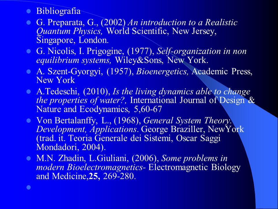 Bibliografia G. Preparata, G., (2002) An introduction to a Realistic Quantum Physics, World Scientific, New Jersey, Singapore, London. G. Nicolis, I.