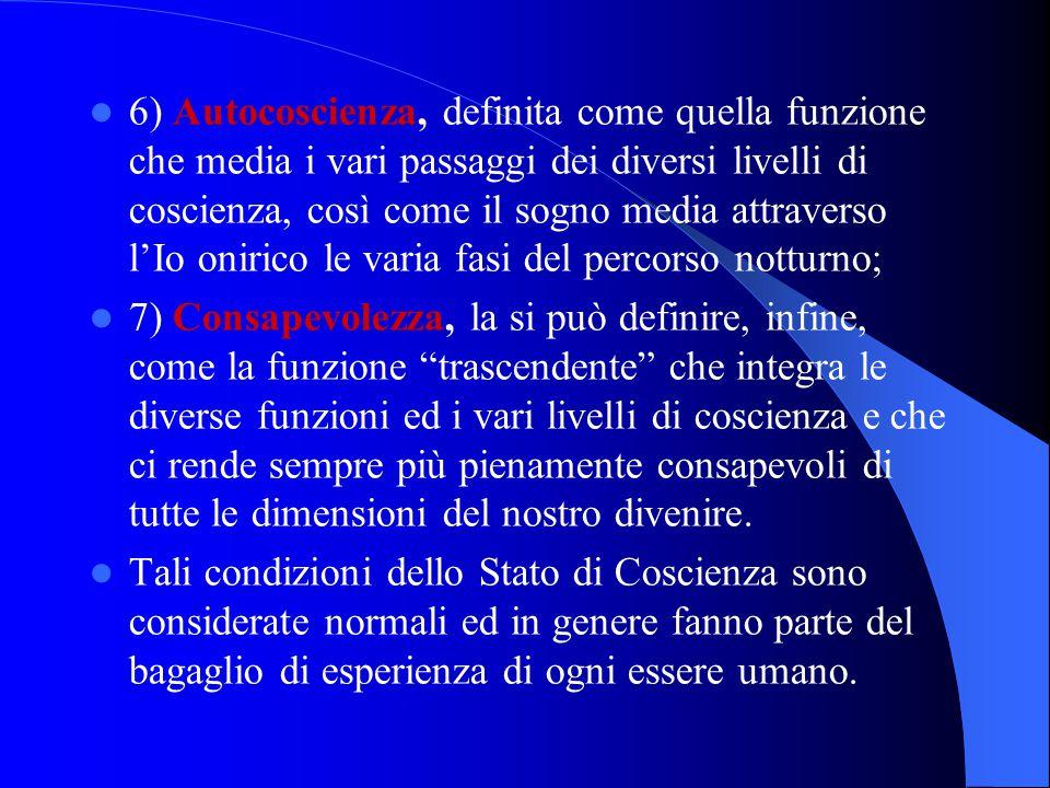 6) Autocoscienza, definita come quella funzione che media i vari passaggi dei diversi livelli di coscienza, così come il sogno media attraverso l'Io o