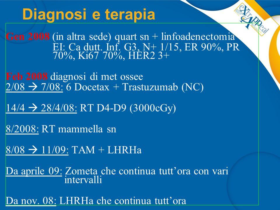 Nov 2009 PD ossea (Scinti + PET-TC), CA15.3: 55 (30) CEA 8.9 (5) In IRE: 10/11/09  15/3/10 VNR +Trastuzumab 18/3/10 PD ossea alla scinti + Ca15.3:  70, CEA 8.5 30/3  7/4/10 RT D10-L1 + ala iliaca dx 19/4  14/10/10 Capecitabina + Lapatinib Terapie successive