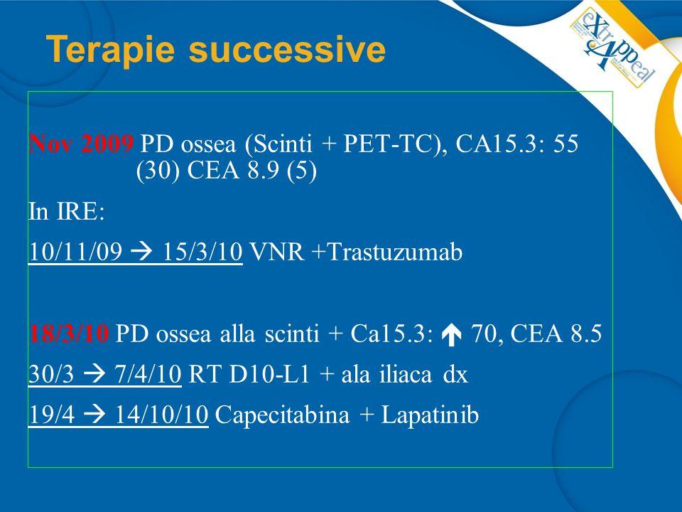 12/10/10 PD ossea alla PET-TC,  CA15.3: 139, CEA 36, algie ossee diffuse 3/11/10 revisione FISH Ca primitivo: non amplificato 10/11/10  6/4/11: 8 EC (80/600) con RP metabolica alla PET,  CA15.3: 42, CEA 4.5 5/11  1/12 mantenimento con Anastrozolo (continua LHRHa).
