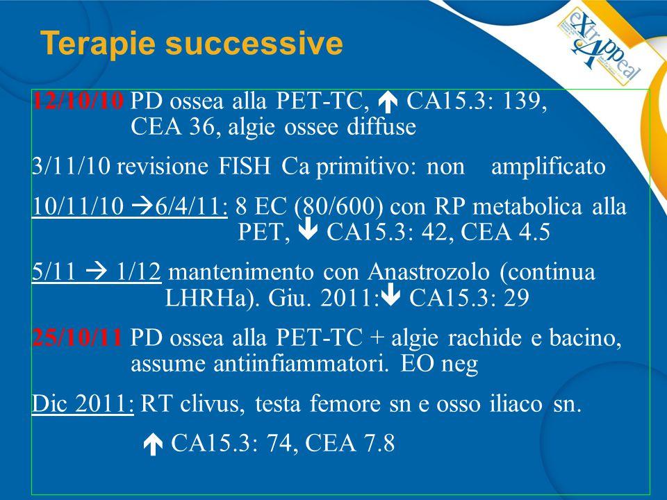 26/10/11 presenza di mutazioni patogenetiche a carico del gene BRCA 2 Programmato Nab-paclitaxel 150 mg/m 2 1-8-15 q 28 17/1/12 I ciclo I giorno + Zometa.