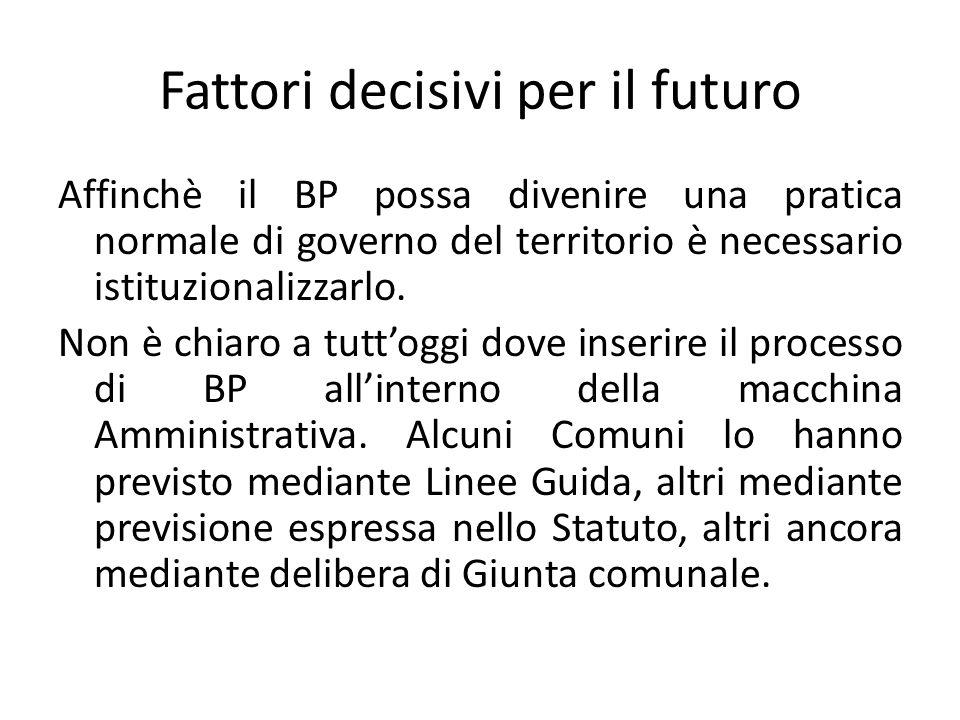 Fattori decisivi per il futuro Affinchè il BP possa divenire una pratica normale di governo del territorio è necessario istituzionalizzarlo. Non è chi