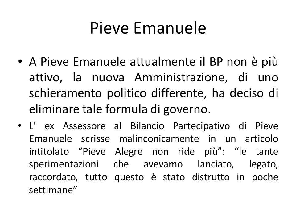 Pieve Emanuele A Pieve Emanuele attualmente il BP non è più attivo, la nuova Amministrazione, di uno schieramento politico differente, ha deciso di el