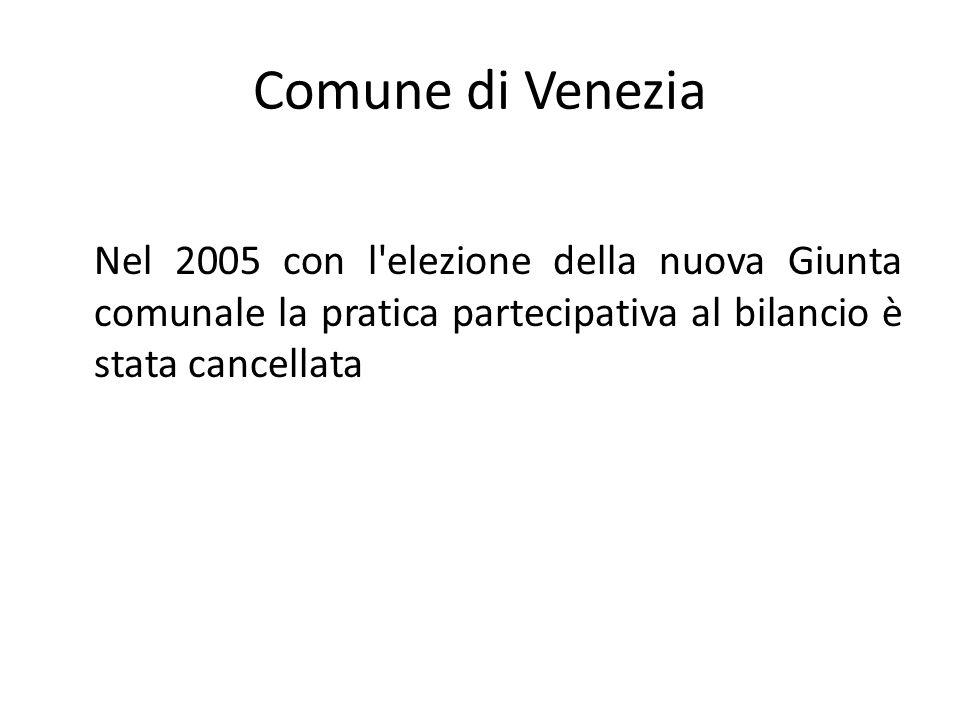 Comune di Venezia Nel 2005 con l'elezione della nuova Giunta comunale la pratica partecipativa al bilancio è stata cancellata