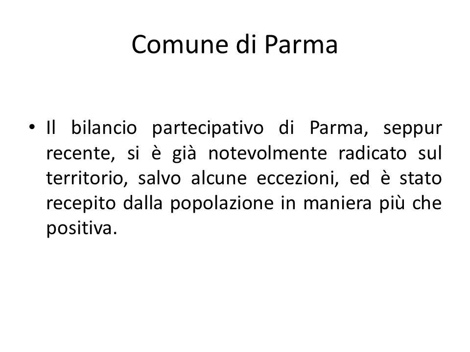 Comune di Parma Il bilancio partecipativo di Parma, seppur recente, si è già notevolmente radicato sul territorio, salvo alcune eccezioni, ed è stato