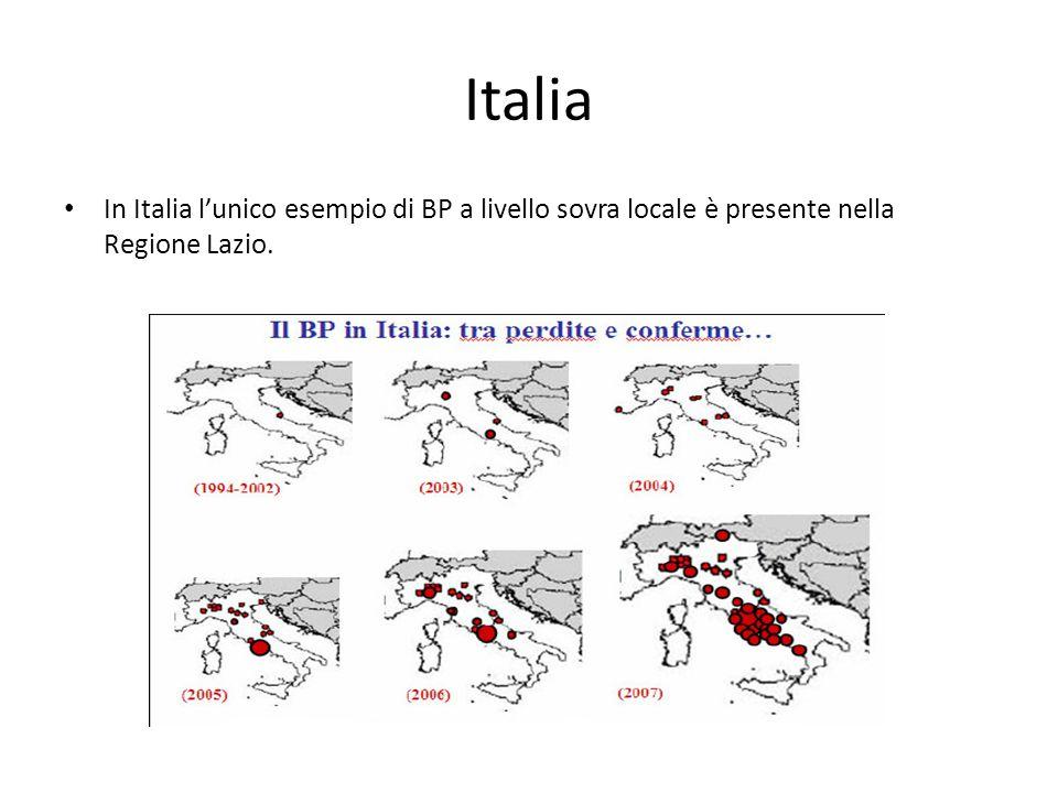 Italia In Italia l'unico esempio di BP a livello sovra locale è presente nella Regione Lazio.