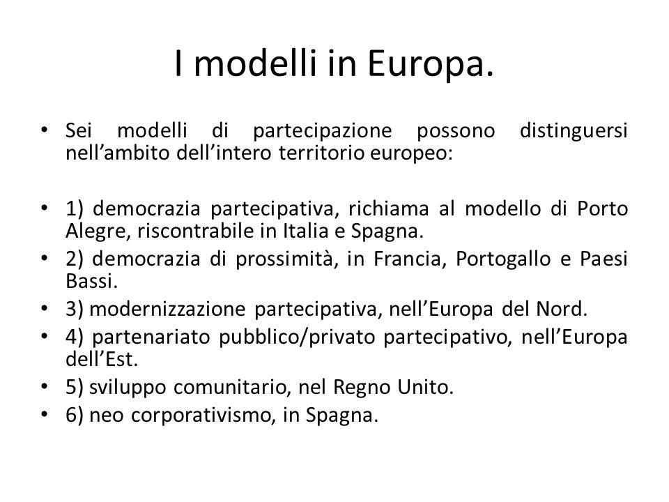 I modelli in Europa. Sei modelli di partecipazione possono distinguersi nell'ambito dell'intero territorio europeo: 1) democrazia partecipativa, richi
