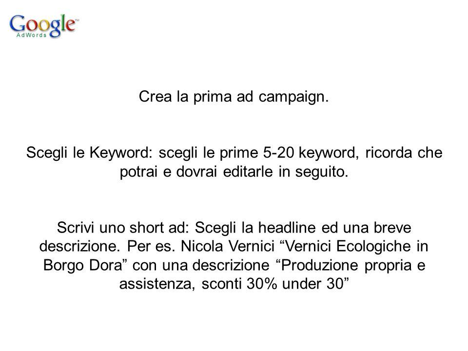 Crea la prima ad campaign.