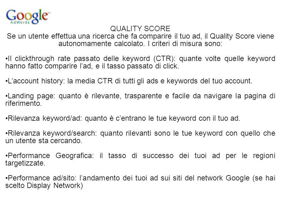 QUALITY SCORE Se un utente effettua una ricerca che fa comparire il tuo ad, il Quality Score viene autonomamente calcolato. I criteri di misura sono: