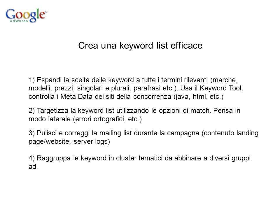 Crea una keyword list efficace 1) Espandi la scelta delle keyword a tutte i termini rilevanti (marche, modelli, prezzi, singolari e plurali, parafrasi etc.).