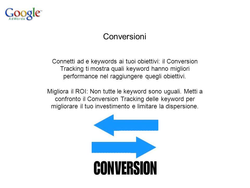Conversioni Connetti ad e keywords ai tuoi obiettivi: il Conversion Tracking ti mostra quali keyword hanno migliori performance nel raggiungere quegli obiettivi.
