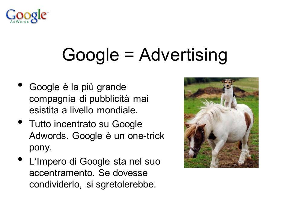 Google = Advertising Google è la più grande compagnia di pubblicità mai esistita a livello mondiale. Tutto incentrato su Google Adwords. Google è un o