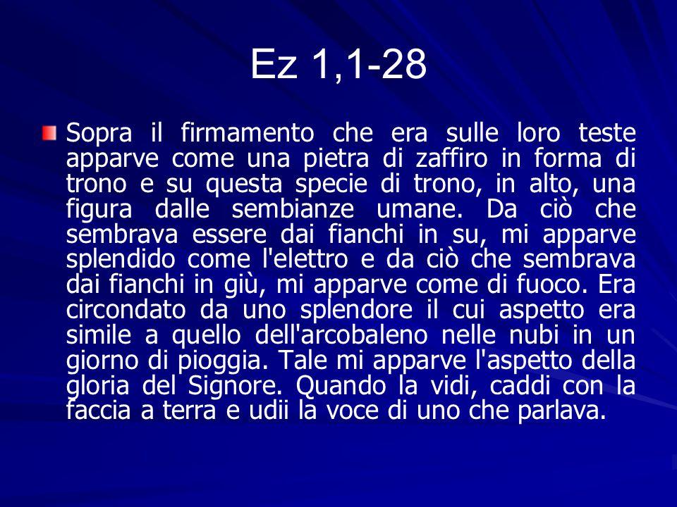 Ez 1,1-28 Sopra il firmamento che era sulle loro teste apparve come una pietra di zaffiro in forma di trono e su questa specie di trono, in alto, una figura dalle sembianze umane.