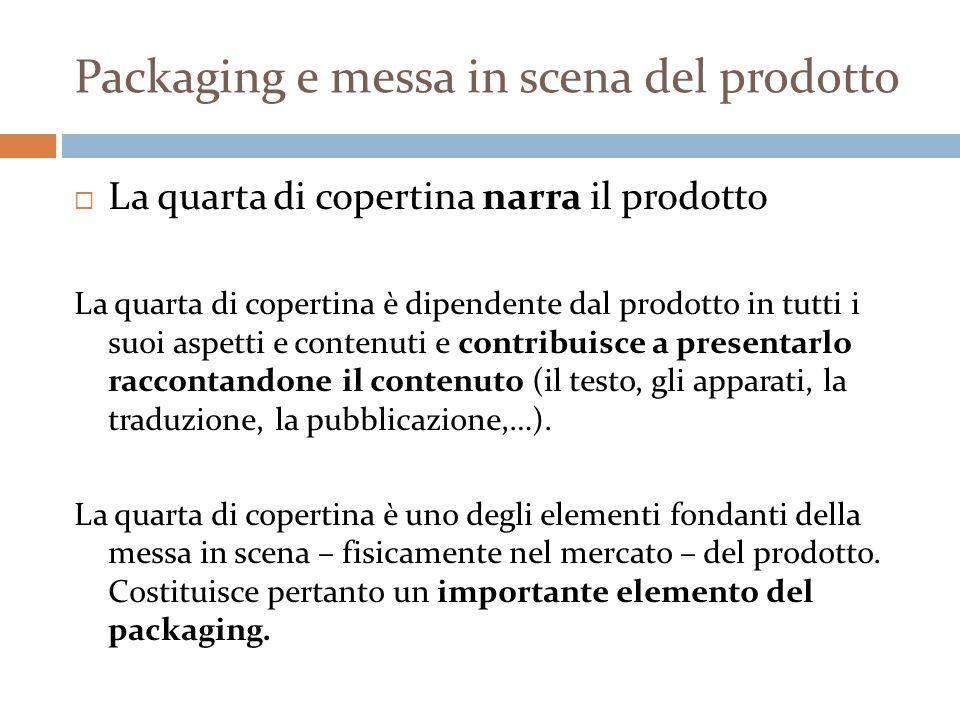 Packaging e messa in scena del prodotto  La quarta di copertina narra il prodotto La quarta di copertina è dipendente dal prodotto in tutti i suoi aspetti e contenuti e contribuisce a presentarlo raccontandone il contenuto (il testo, gli apparati, la traduzione, la pubblicazione,…).