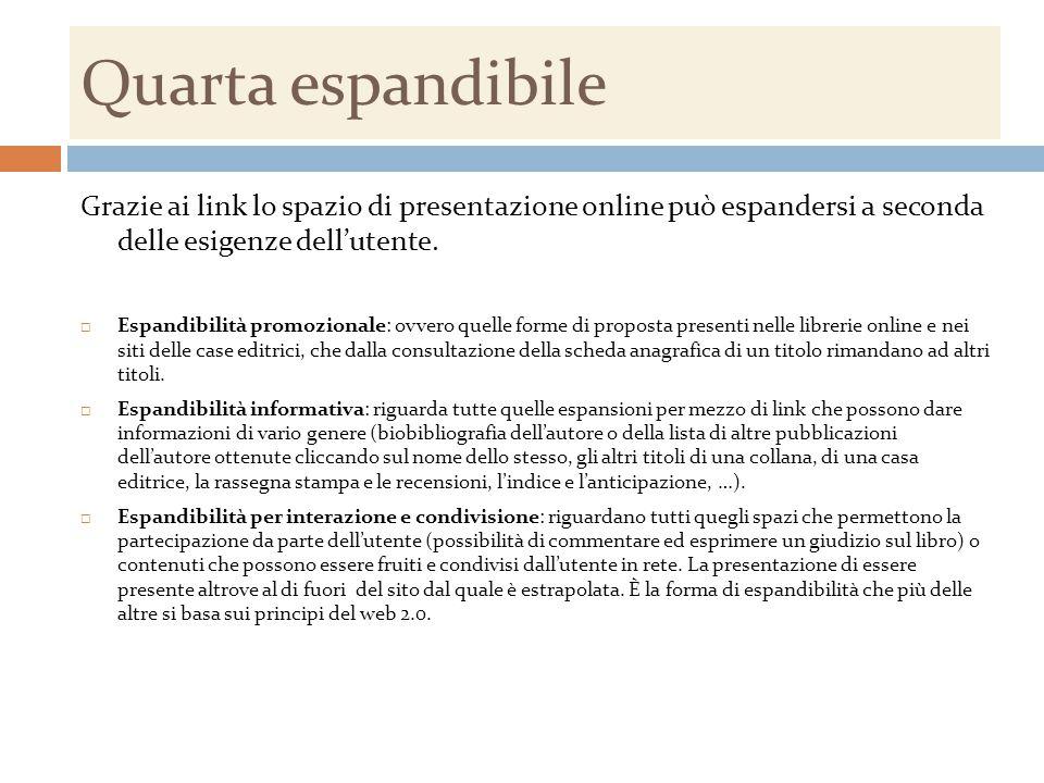 Quarta espandibile Grazie ai link lo spazio di presentazione online può espandersi a seconda delle esigenze dell'utente.