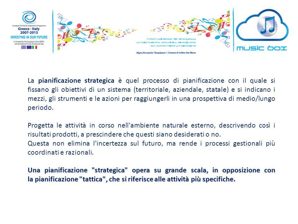 La pianificazione strategica è quel processo di pianificazione con il quale si fissano gli obiettivi di un sistema (territoriale, aziendale, statale) e si indicano i mezzi, gli strumenti e le azioni per raggiungerli in una prospettiva di medio/lungo periodo.