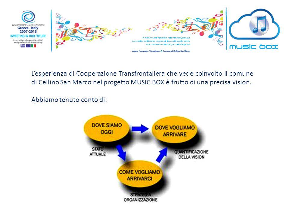 L'esperienza di Cooperazione Transfrontaliera che vede coinvolto il comune di Cellino San Marco nel progetto MUSIC BOX è frutto di una precisa vision.