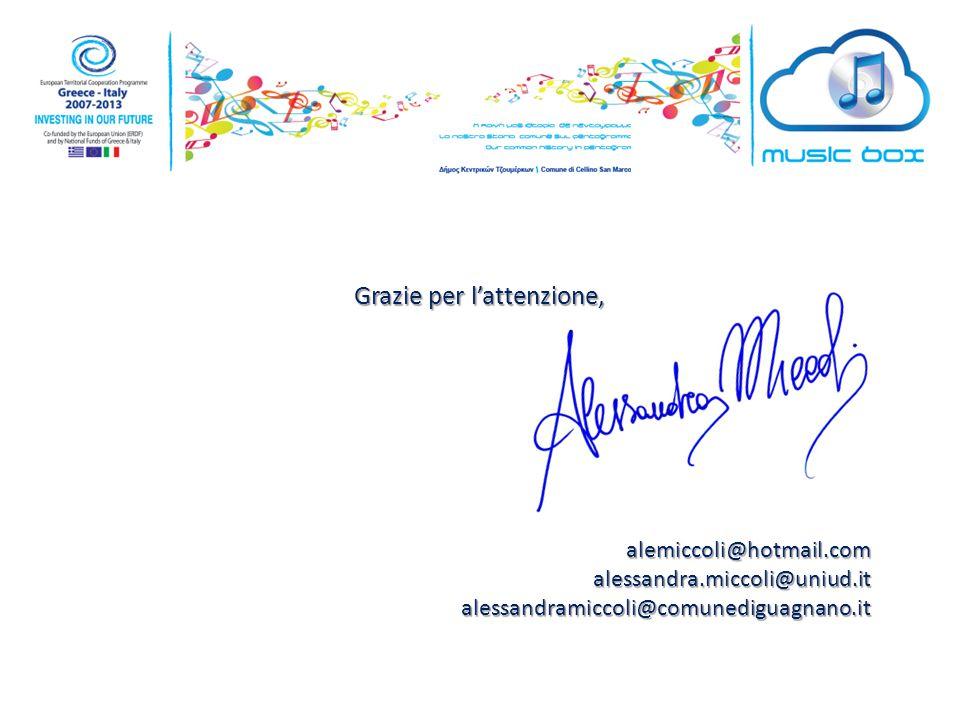 Grazie per l'attenzione, alemiccoli@hotmail.comalessandra.miccoli@uniud.italessandramiccoli@comunediguagnano.it