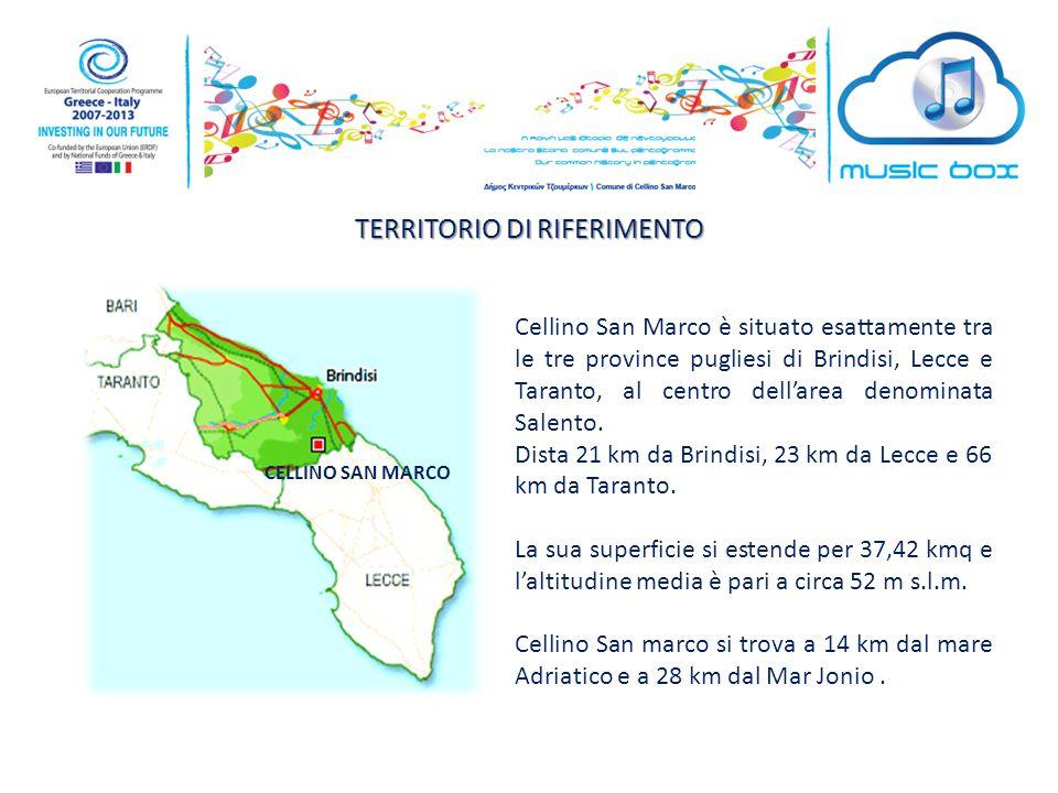 TERRITORIO DI RIFERIMENTO CELLINO SAN MARCO Cellino San Marco è situato esattamente tra le tre province pugliesi di Brindisi, Lecce e Taranto, al centro dell'area denominata Salento.