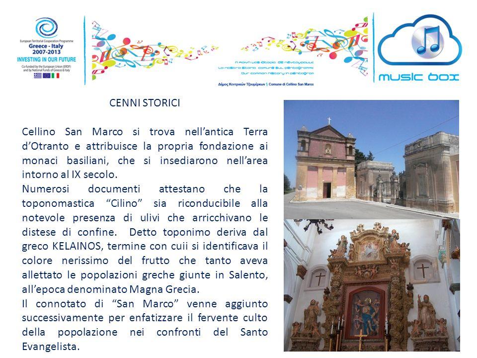 CENNI STORICI Cellino San Marco si trova nell'antica Terra d'Otranto e attribuisce la propria fondazione ai monaci basiliani, che si insediarono nell'area intorno al IX secolo.