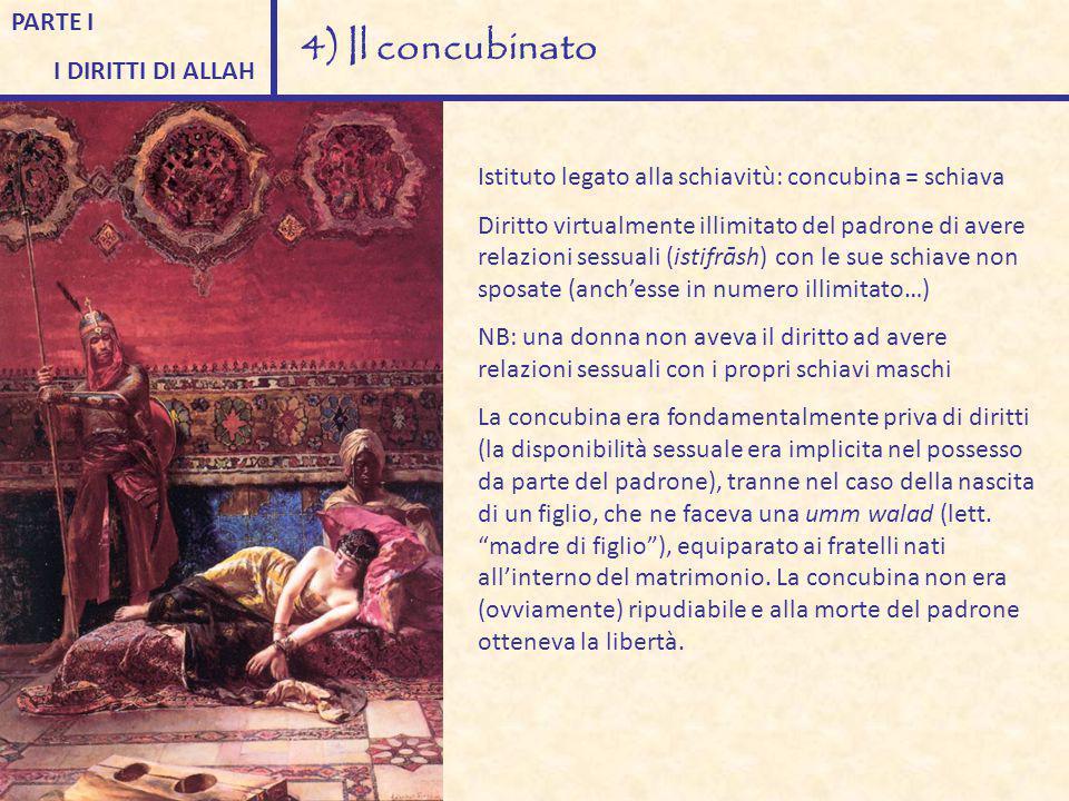 PARTE I I DIRITTI DI ALLAH 4) Il concubinato Istituto legato alla schiavitù: concubina = schiava Diritto virtualmente illimitato del padrone di avere
