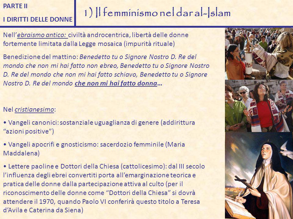 PARTE II I DIRITTI DELLE DONNE 1) Il femminismo nel dar al-Islam Nell'ebraismo antico: civiltà androcentrica, libertà delle donne fortemente limitata