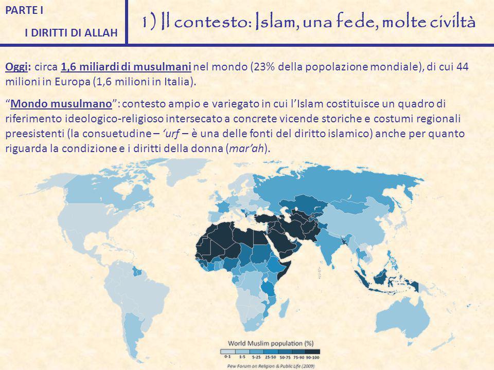 PARTE I I DIRITTI DI ALLAH 1) Il contesto: Islam, una fede, molte civiltà Oggi: circa 1,6 miliardi di musulmani nel mondo (23% della popolazione mondi