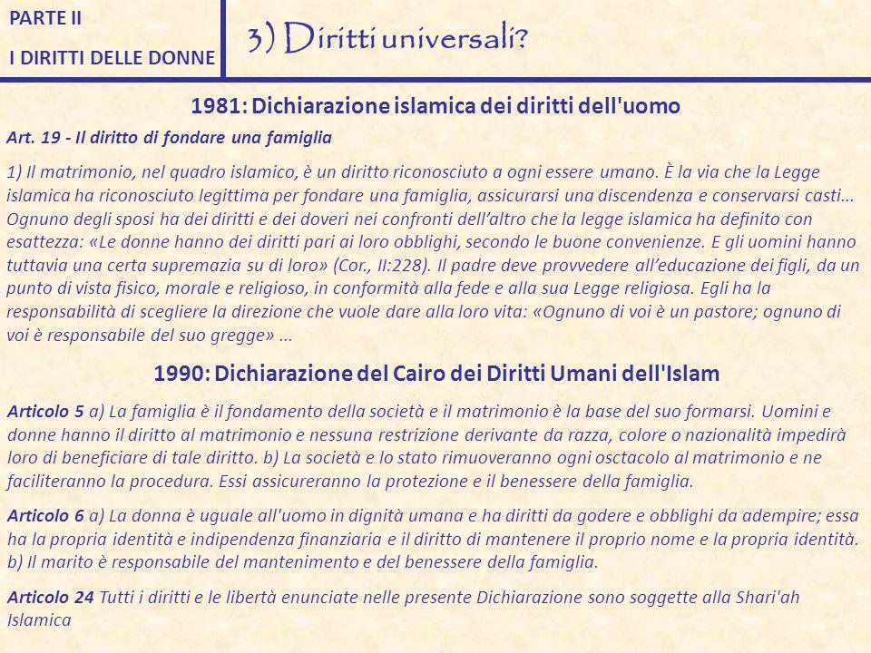 PARTE II I DIRITTI DELLE DONNE 3) Diritti universali? 1981: Dichiarazione islamica dei diritti dell'uomo Art. 19 - Il diritto di fondare una famiglia