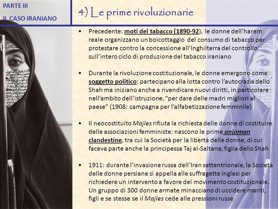 Precedente: moti del tabacco (1890-92), le donne dell'harem reale organizzano un boicottaggio del consumo di tabacco per protestare contro la concessi