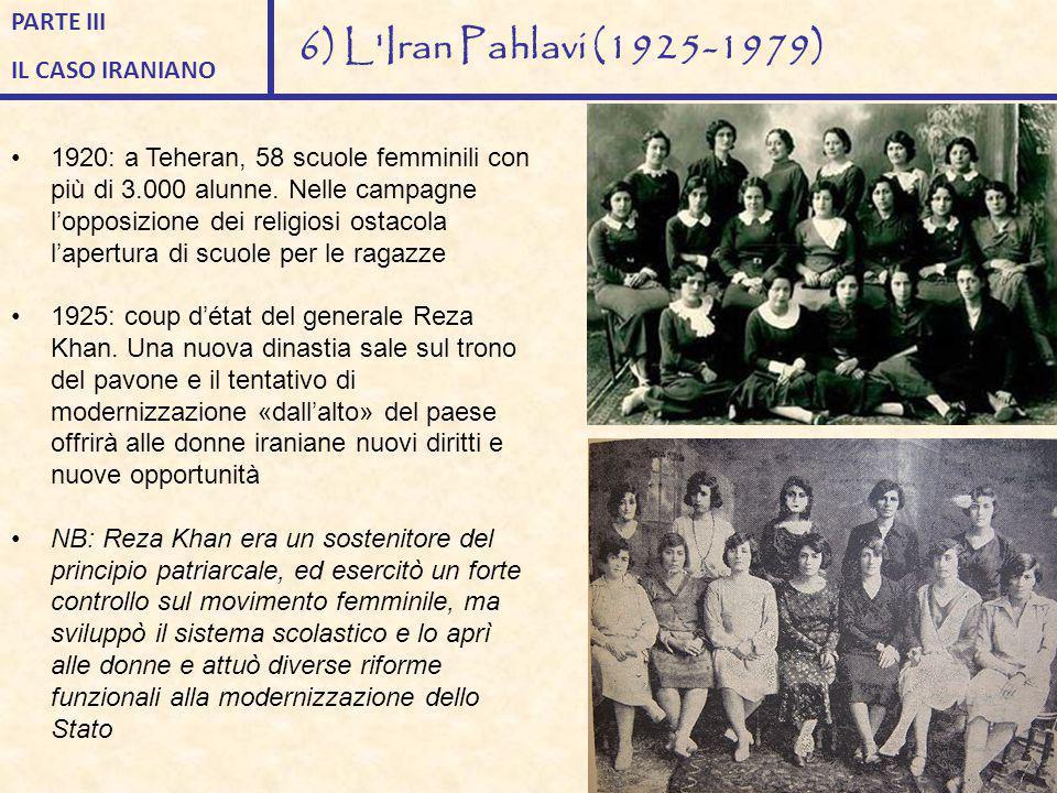 1920: a Teheran, 58 scuole femminili con più di 3.000 alunne. Nelle campagne l'opposizione dei religiosi ostacola l'apertura di scuole per le ragazze