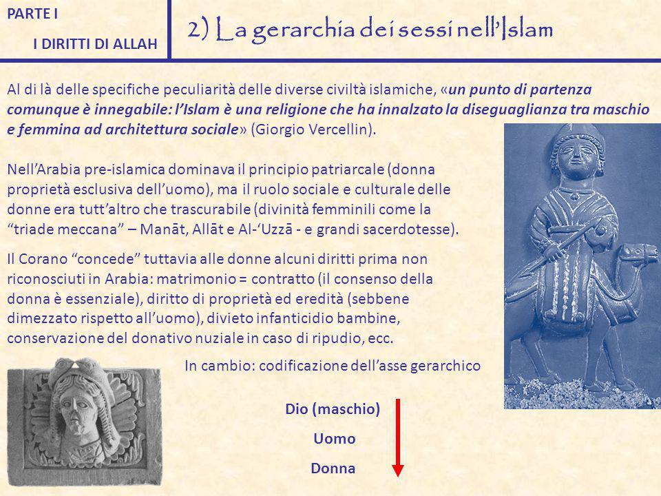 PARTE I I DIRITTI DI ALLAH 2) La gerarchia dei sessi nell'Islam Al di là delle specifiche peculiarità delle diverse civiltà islamiche, «un punto di pa
