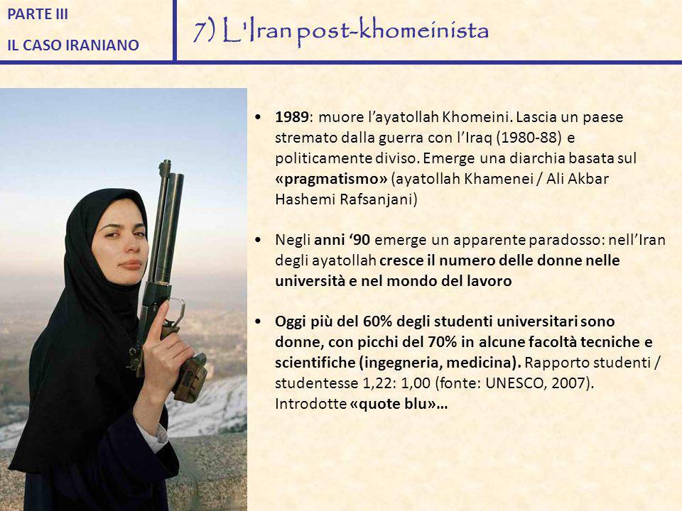 1989: muore l'ayatollah Khomeini. Lascia un paese stremato dalla guerra con l'Iraq (1980-88) e politicamente diviso. Emerge una diarchia basata sul «p