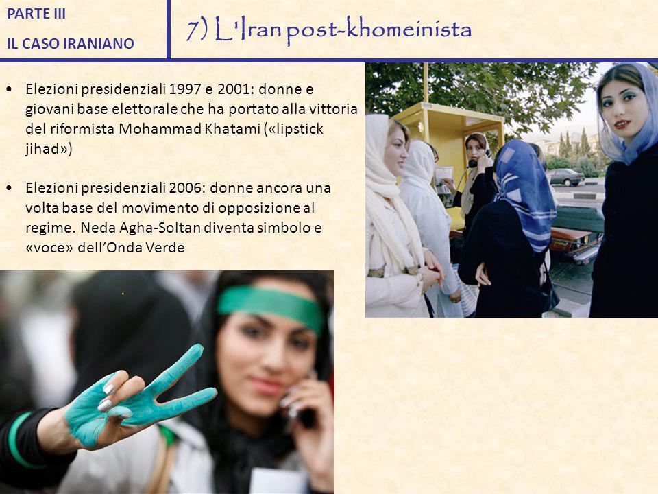 Elezioni presidenziali 1997 e 2001: donne e giovani base elettorale che ha portato alla vittoria del riformista Mohammad Khatami («lipstick jihad») El