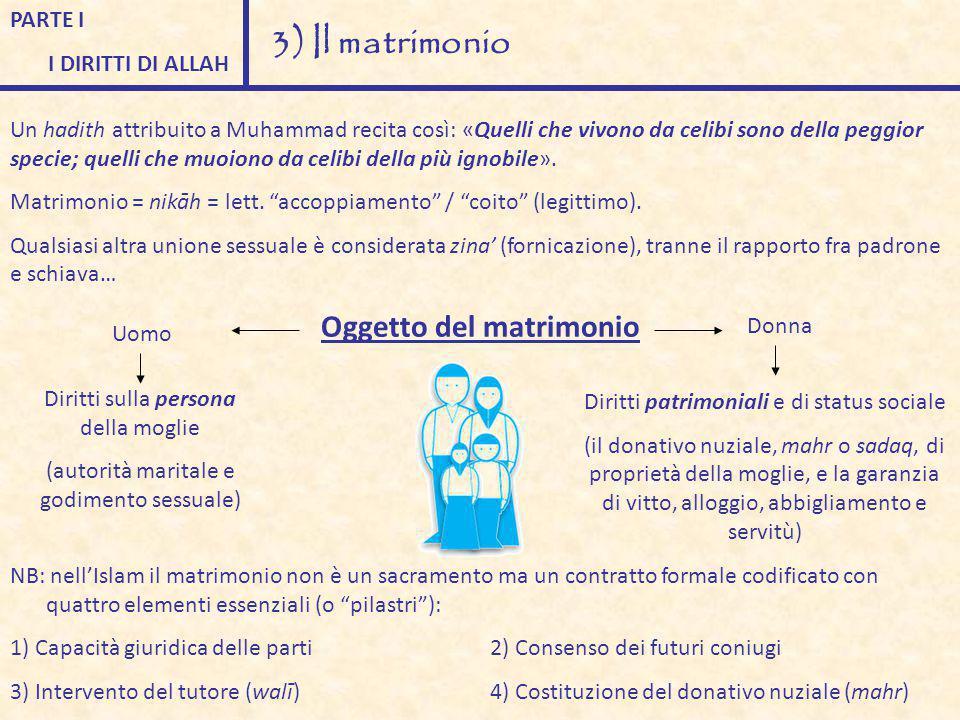 PARTE I I DIRITTI DI ALLAH 3) Il matrimonio Un hadith attribuito a Muhammad recita così: «Quelli che vivono da celibi sono della peggior specie; quell