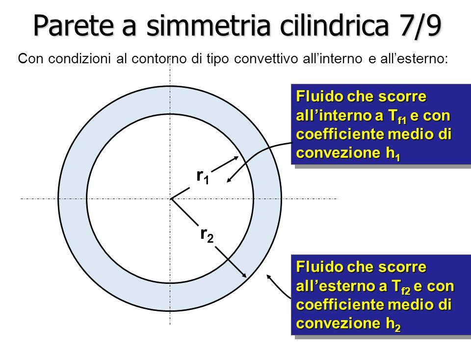 Fluido che scorre all'interno a T f1 e con coefficiente medio di convezione h 1 r1r1 r2r2 Parete a simmetria cilindrica 7/9 Con condizioni al contorno di tipo convettivo all'interno e all'esterno: Fluido che scorre all'esterno a T f2 e con coefficiente medio di convezione h 2