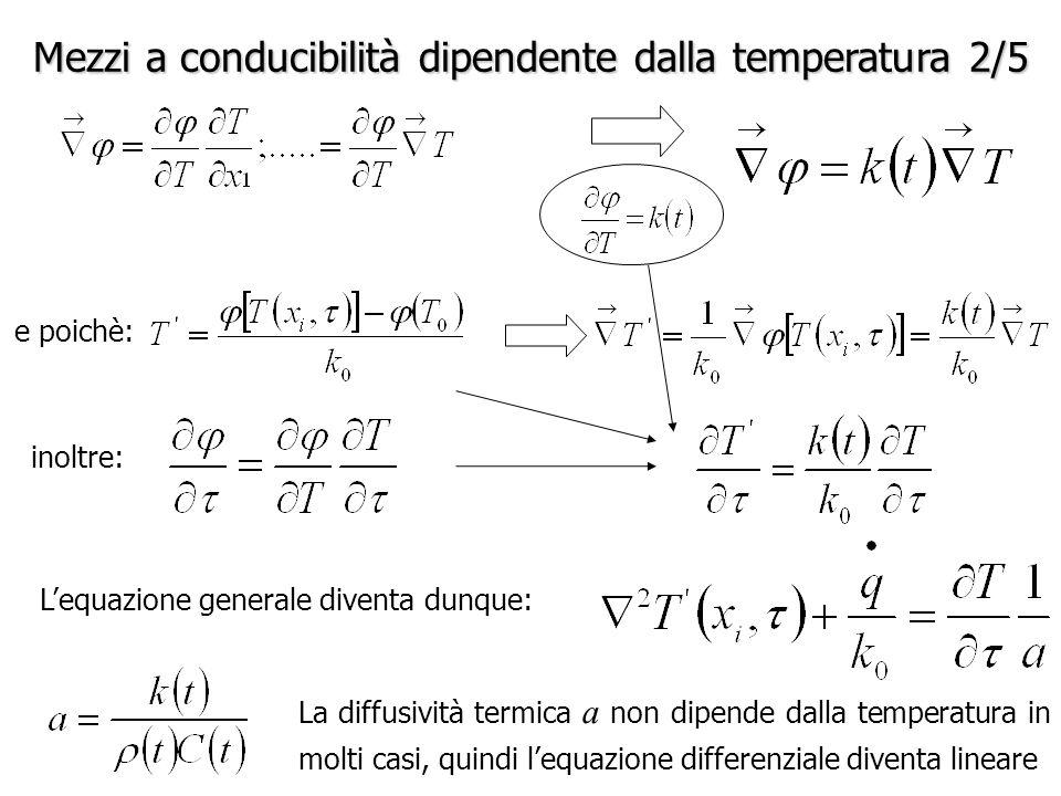 Mezzi a conducibilità dipendente dalla temperatura 2/5 e poichè: inoltre: L'equazione generale diventa dunque: La diffusività termica a non dipende dalla temperatura in molti casi, quindi l'equazione differenziale diventa lineare