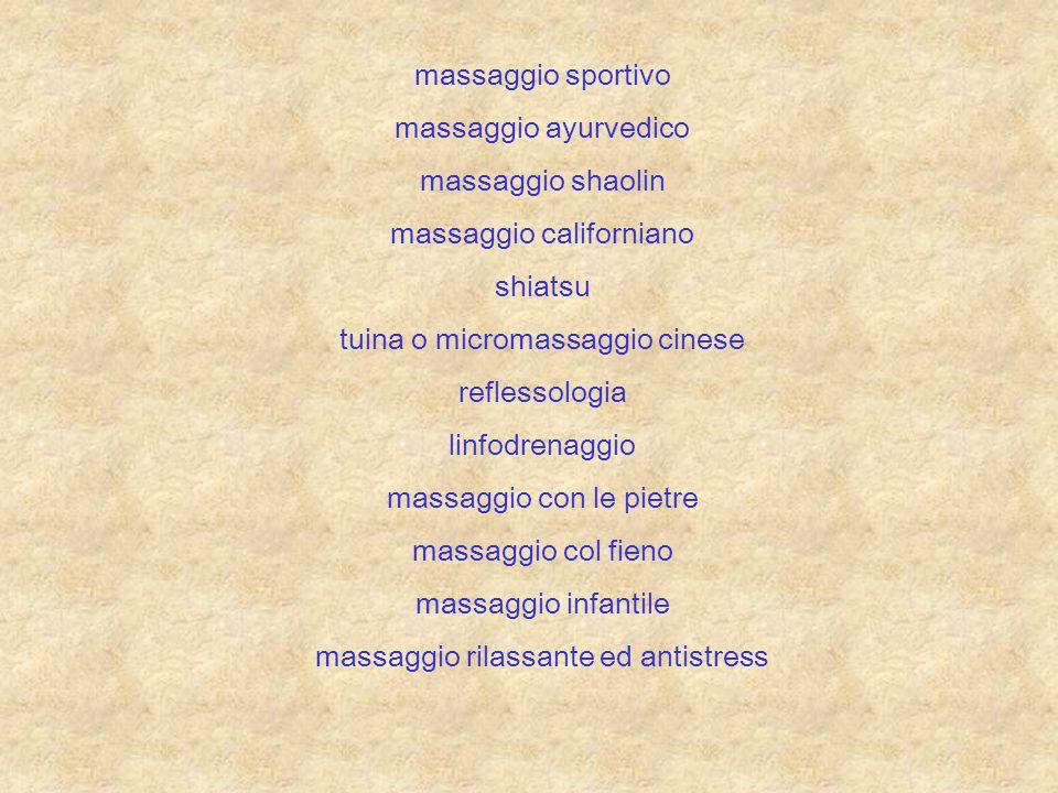 massaggio sportivo massaggio ayurvedico massaggio shaolin massaggio californiano shiatsu tuina o micromassaggio cinese reflessologia linfodrenaggio ma