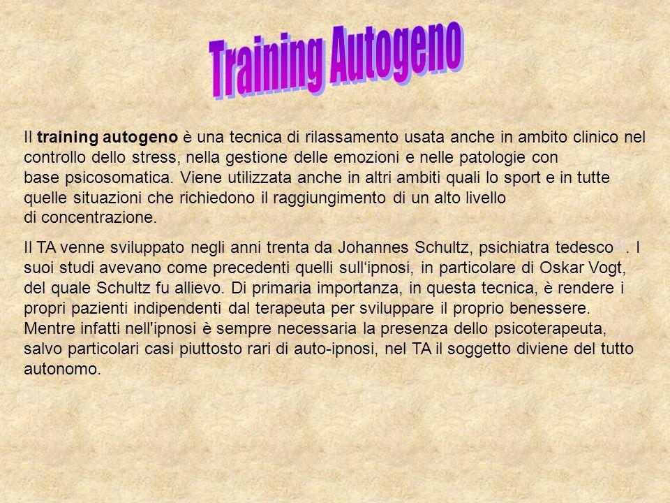 Il training autogeno è una tecnica di rilassamento usata anche in ambito clinico nel controllo dello stress, nella gestione delle emozioni e nelle pat