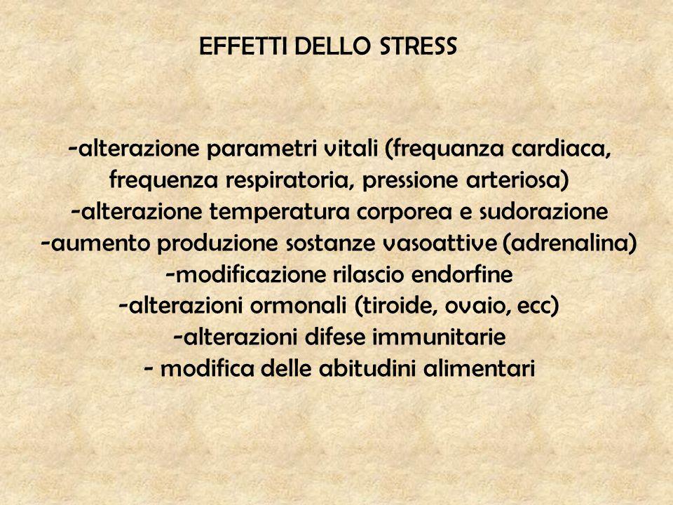 EFFETTI DELLO STRESS -alterazione parametri vitali (frequanza cardiaca, frequenza respiratoria, pressione arteriosa) -alterazione temperatura corporea